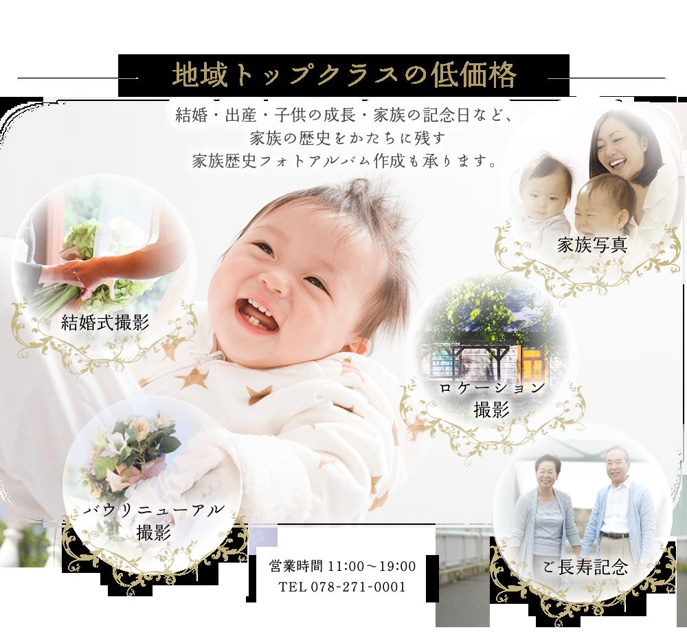 地域トップクラスの低価格結婚・出産・子供の成長・家族の記念日など、家族の歴史をかたちに残す家族歴史フォトアルバム作成も承ります。